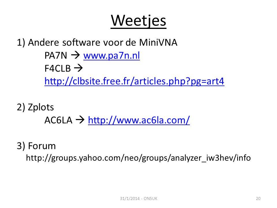 Weetjes 1) Andere software voor de MiniVNA PA7N  www.pa7n.nl