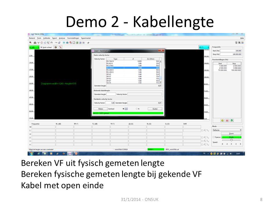 Demo 2 - Kabellengte Bereken VF uit fysisch gemeten lengte