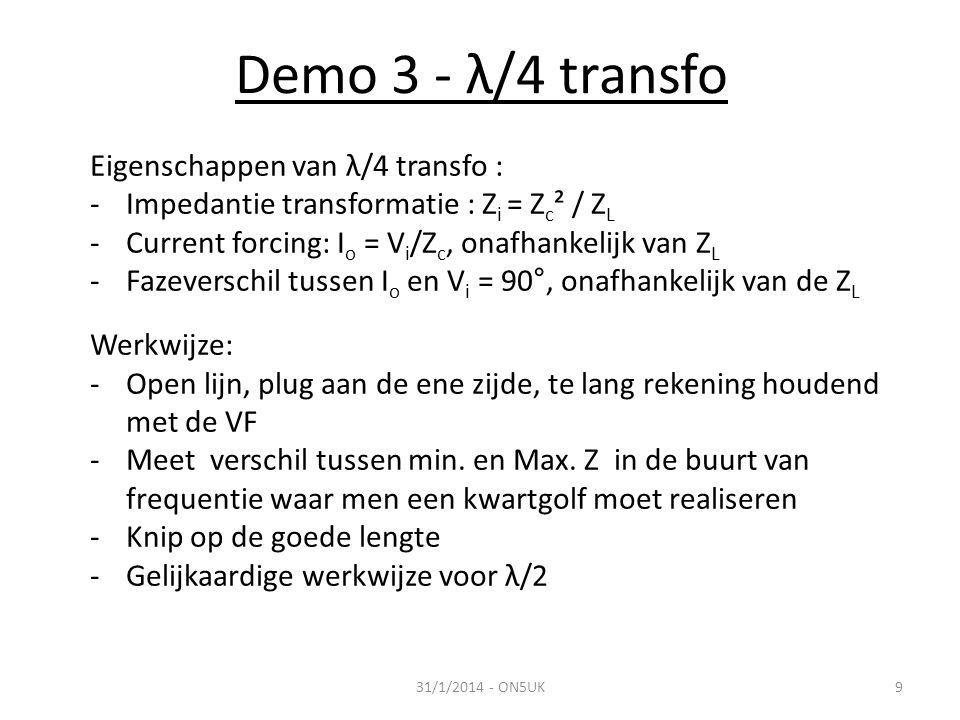 Demo 3 - λ/4 transfo Eigenschappen van λ/4 transfo :