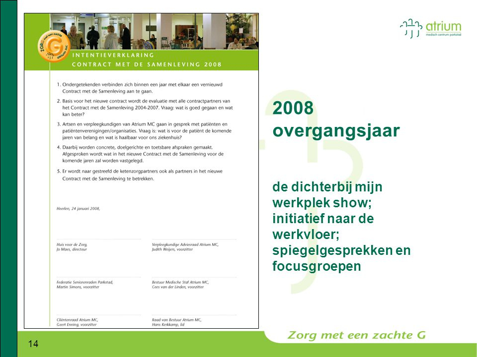 2008 overgangsjaar de dichterbij mijn werkplek show; initiatief naar de werkvloer; spiegelgesprekken en focusgroepen