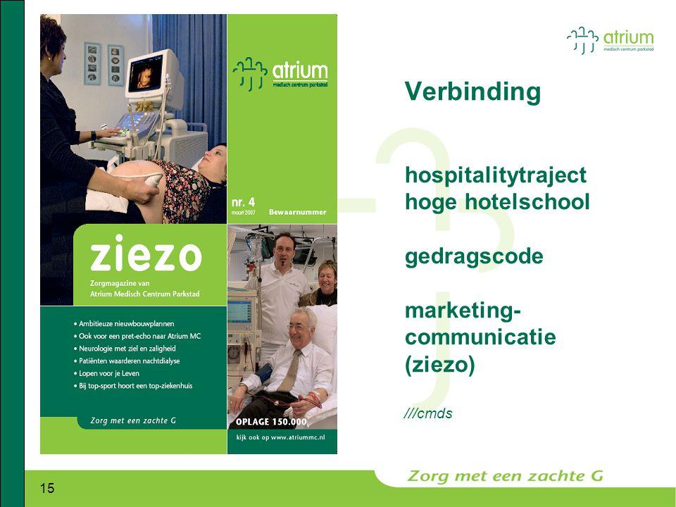 Verbinding hospitalitytraject hoge hotelschool gedragscode marketing-communicatie (ziezo) ///cmds