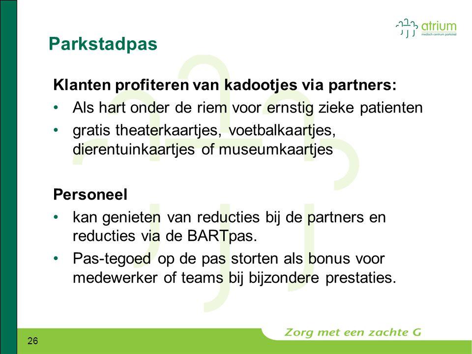 Parkstadpas Klanten profiteren van kadootjes via partners: