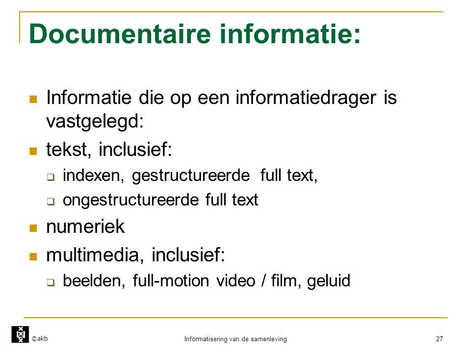 Documentaire informatie: