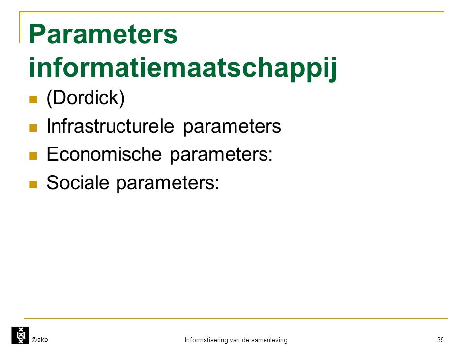 Parameters informatiemaatschappij