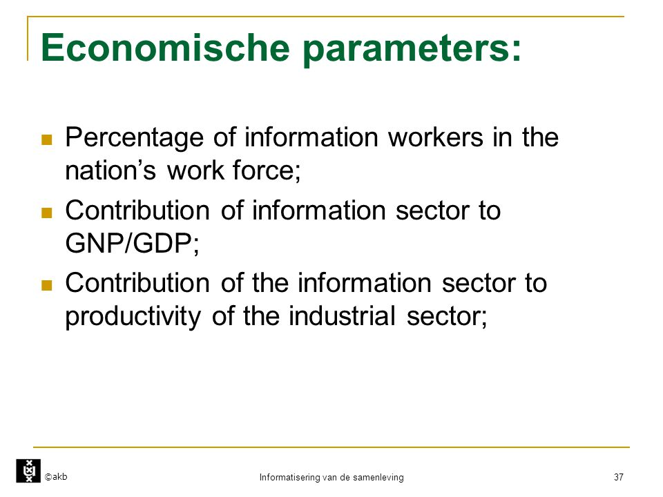 Economische parameters: