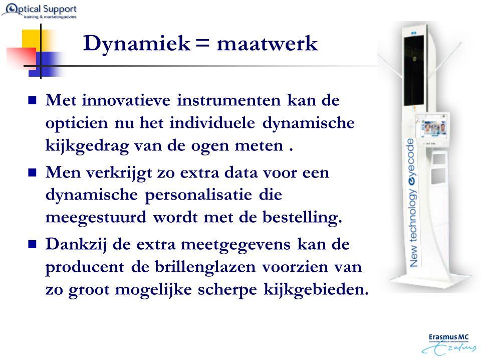 Dynamiek = maatwerk Met innovatieve instrumenten kan de opticien nu het individuele dynamische kijkgedrag van de ogen meten .