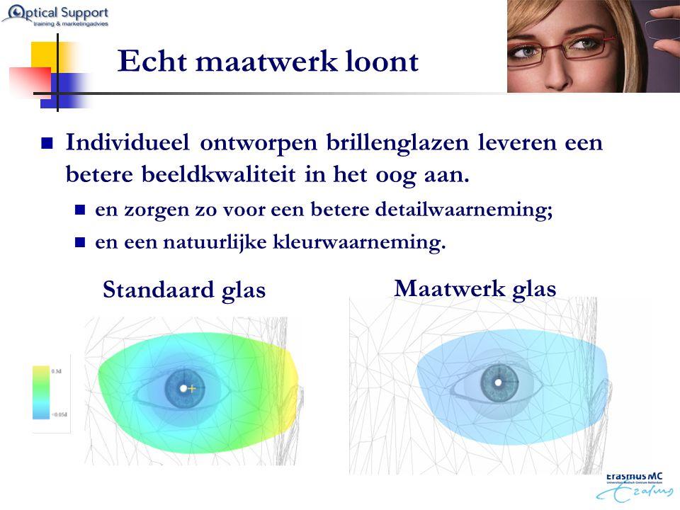 Echt maatwerk loont Individueel ontworpen brillenglazen leveren een betere beeldkwaliteit in het oog aan.