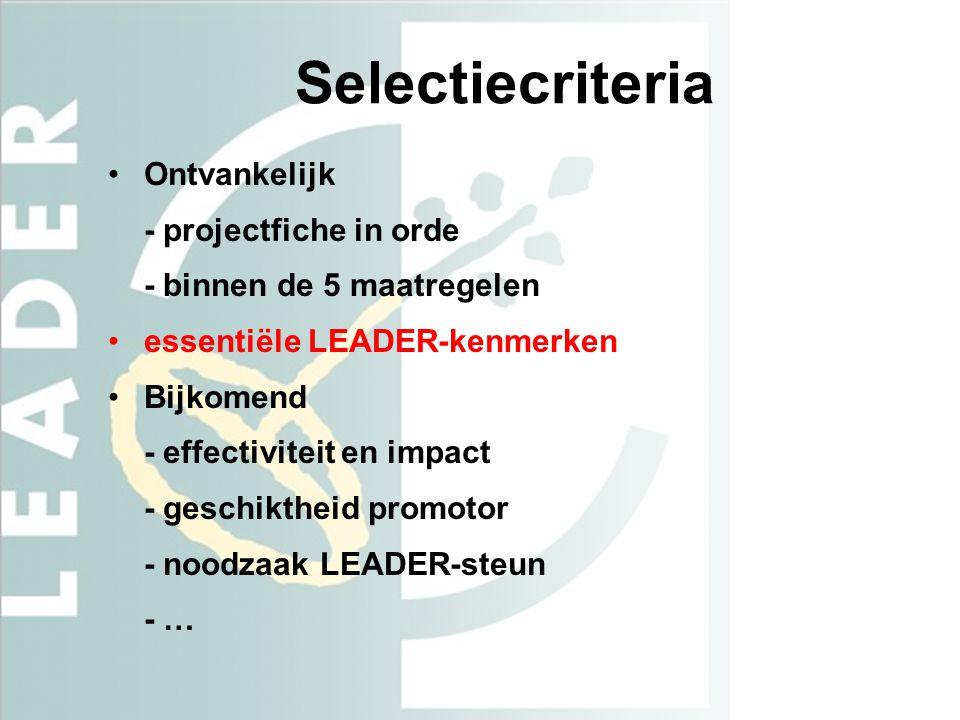 Selectiecriteria Ontvankelijk - projectfiche in orde