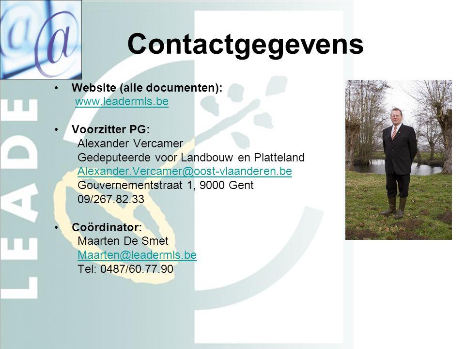 Contactgegevens Website (alle documenten): www.leadermls.be