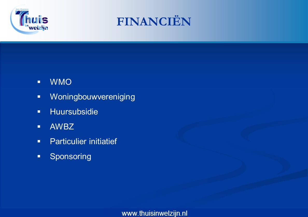FINANCIËN WMO Woningbouwvereniging Huursubsidie AWBZ