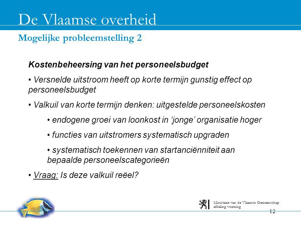 De Vlaamse overheid Mogelijke probleemstelling 2