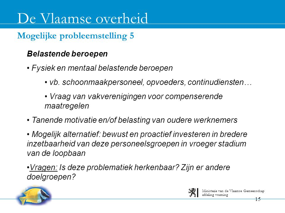 De Vlaamse overheid Mogelijke probleemstelling 5 Belastende beroepen