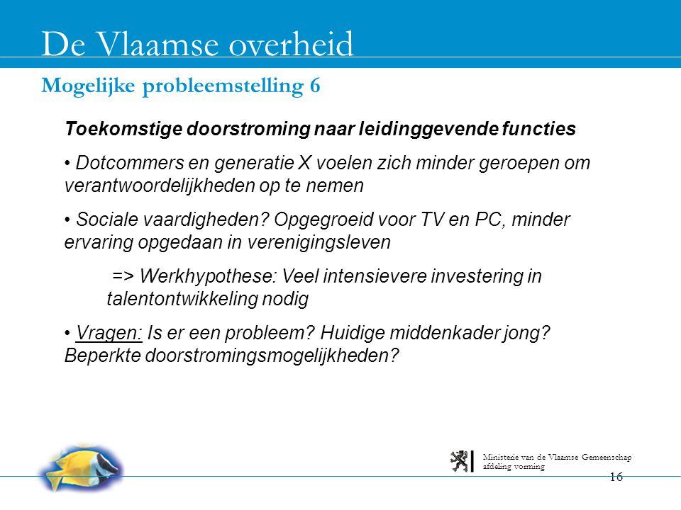De Vlaamse overheid Mogelijke probleemstelling 6
