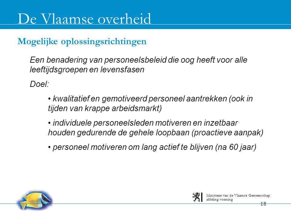 De Vlaamse overheid Mogelijke oplossingsrichtingen