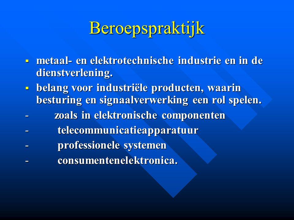 Beroepspraktijk metaal- en elektrotechnische industrie en in de dienstverlening.