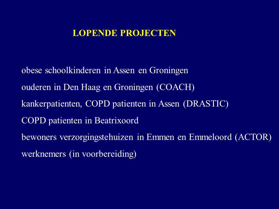LOPENDE PROJECTEN obese schoolkinderen in Assen en Groningen. ouderen in Den Haag en Groningen (COACH)