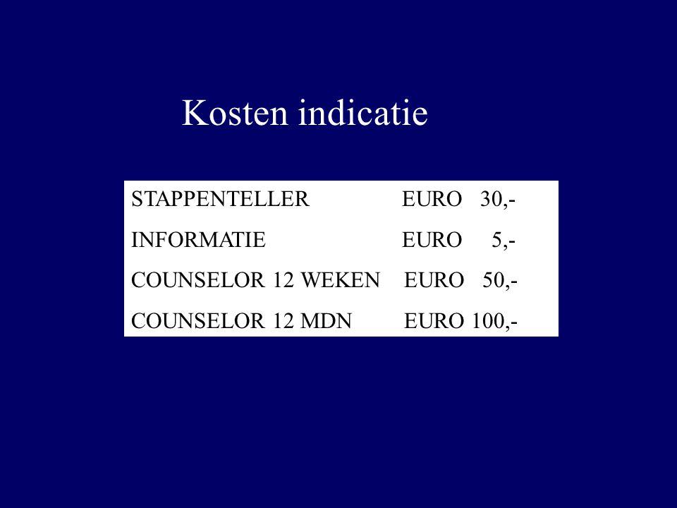 Kosten indicatie STAPPENTELLER EURO 30,- INFORMATIE EURO 5,-