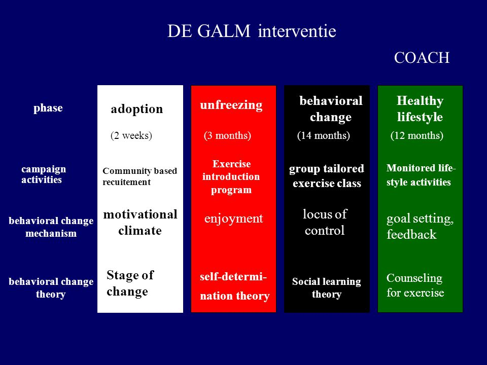 DE GALM interventie COACH behavioral change Healthy lifestyle