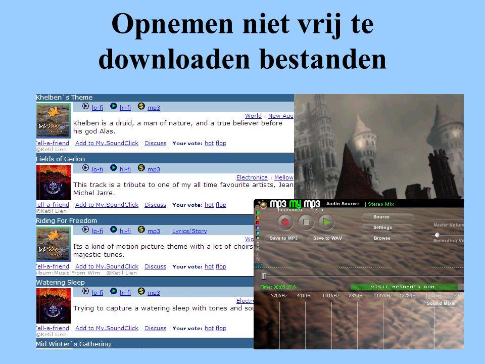 Opnemen niet vrij te downloaden bestanden