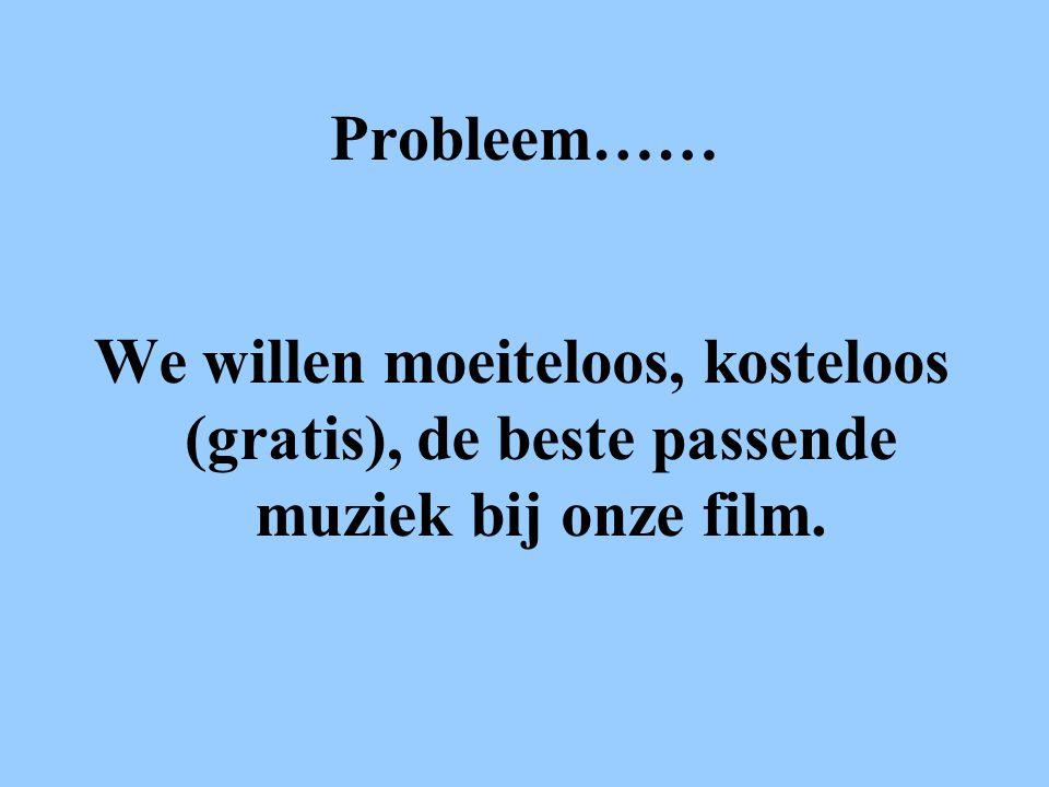 Probleem…… We willen moeiteloos, kosteloos (gratis), de beste passende muziek bij onze film.