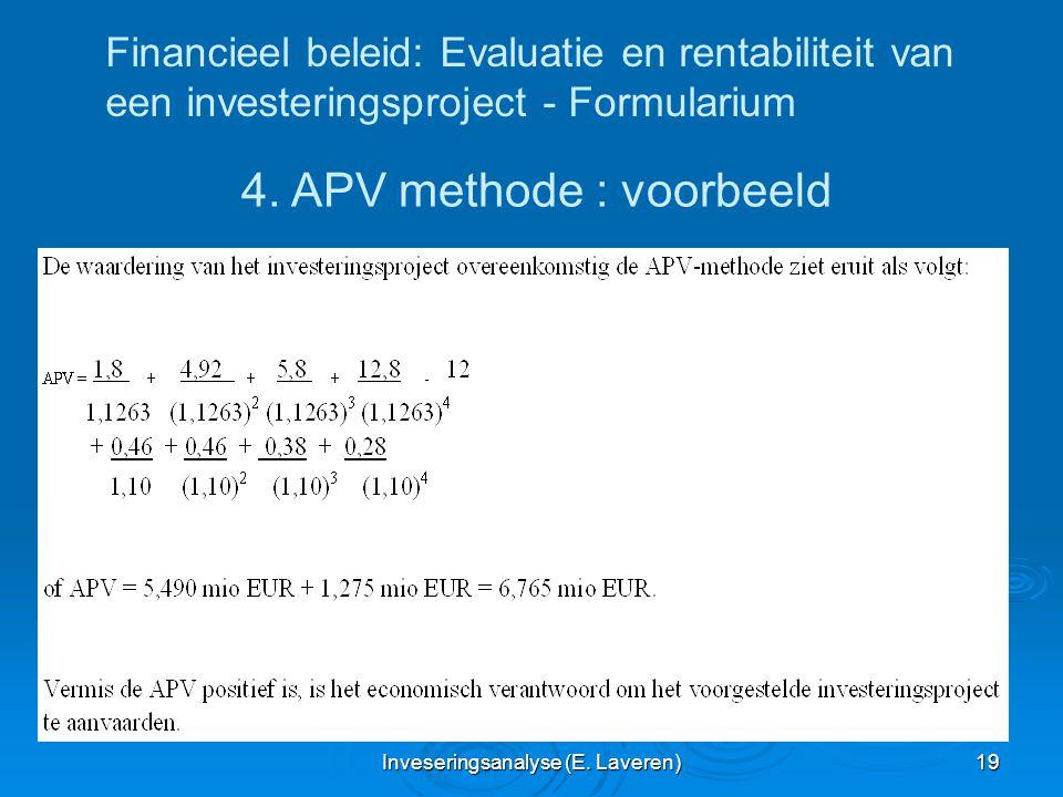 4. APV methode : voorbeeld
