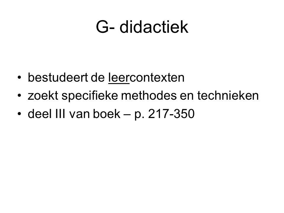 G- didactiek bestudeert de leercontexten