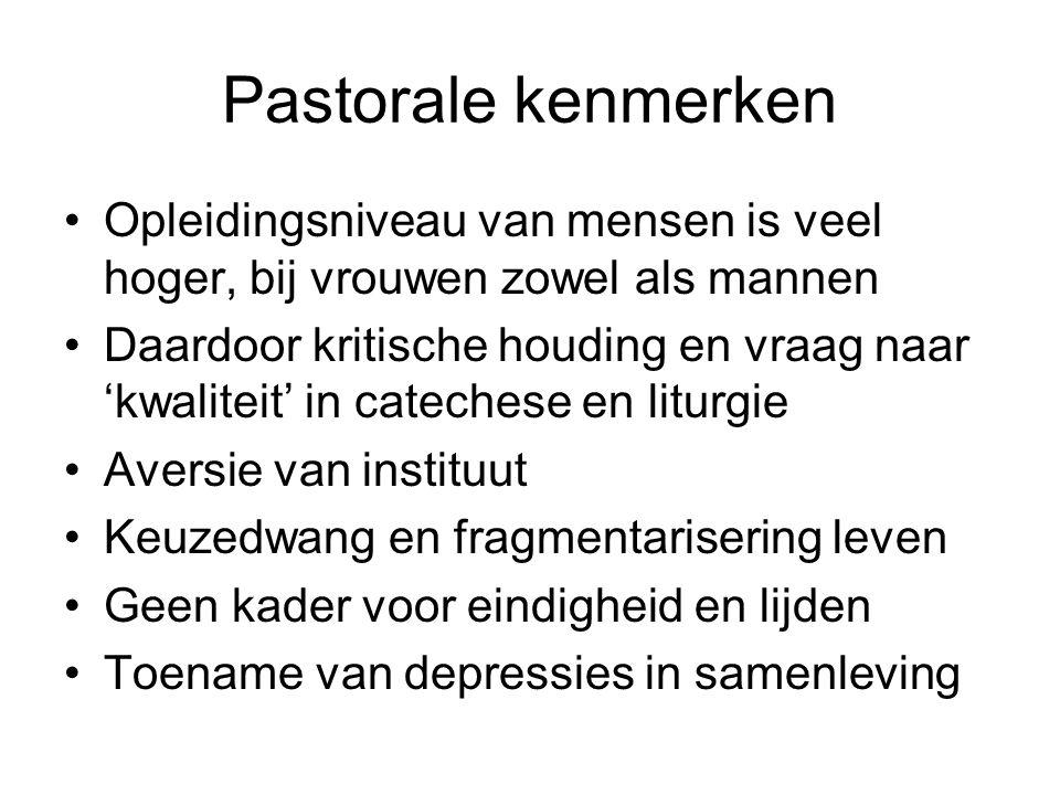Pastorale kenmerken Opleidingsniveau van mensen is veel hoger, bij vrouwen zowel als mannen.