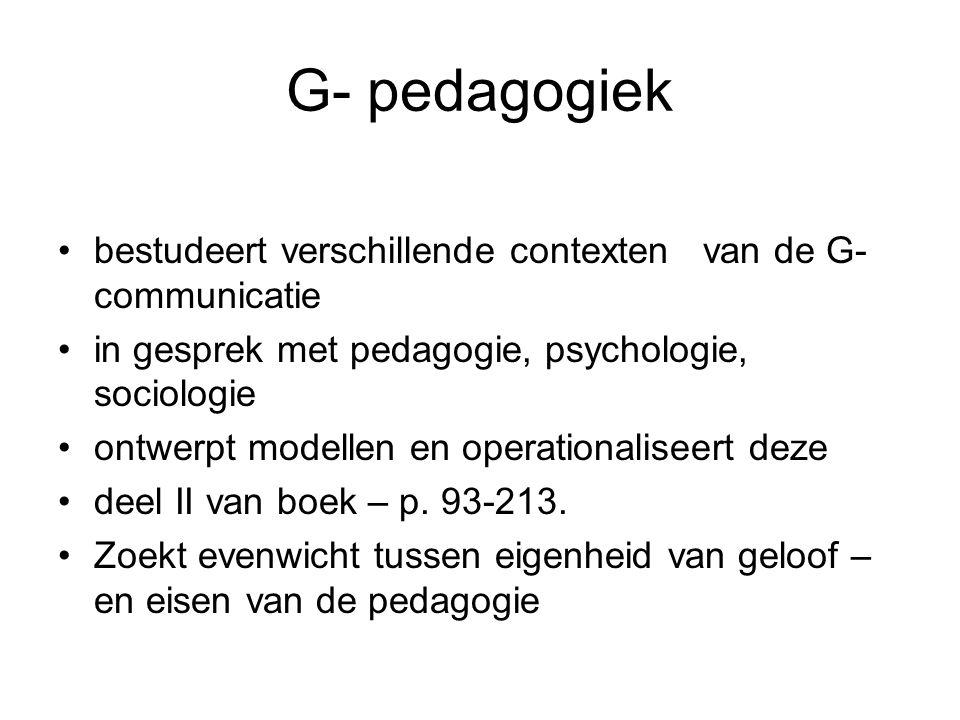 G- pedagogiek bestudeert verschillende contexten van de G- communicatie. in gesprek met pedagogie, psychologie, sociologie.