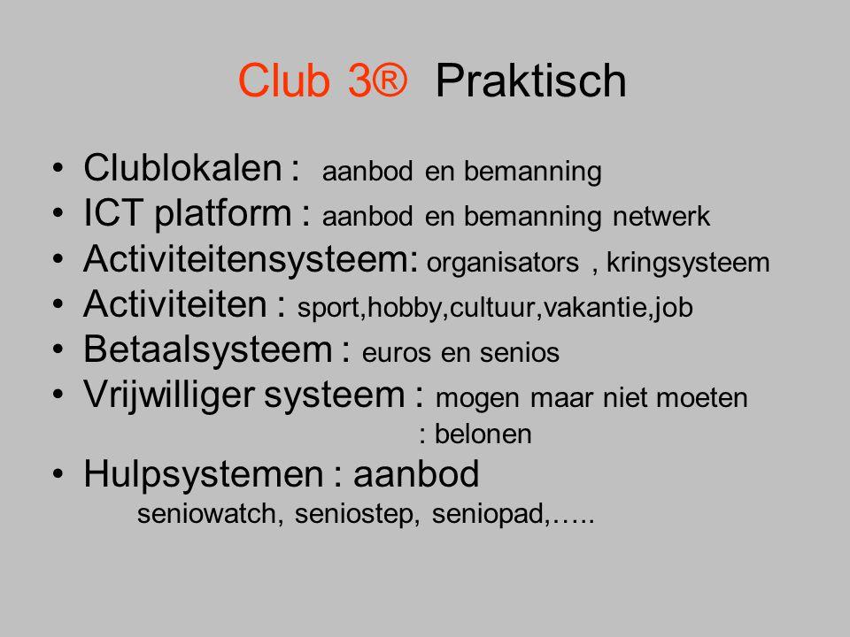 Club 3® Praktisch Clublokalen : aanbod en bemanning