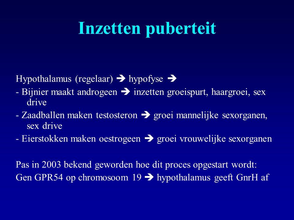 Inzetten puberteit Hypothalamus (regelaar)  hypofyse 