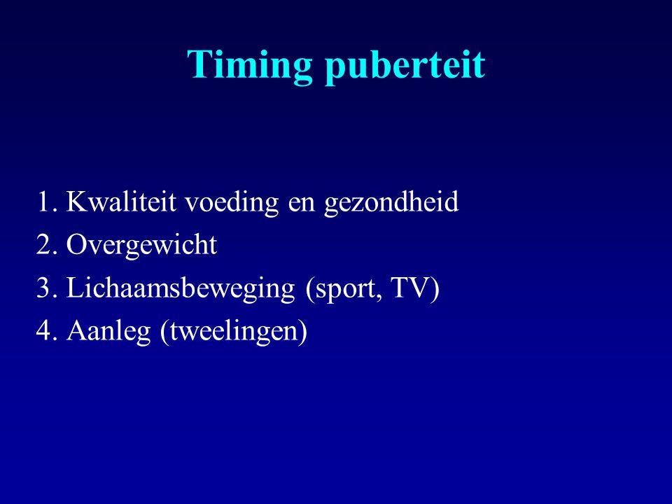 Timing puberteit 1. Kwaliteit voeding en gezondheid 2. Overgewicht