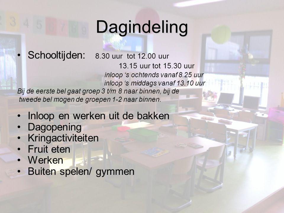 Dagindeling Schooltijden: 8.30 uur tot 12.00 uur