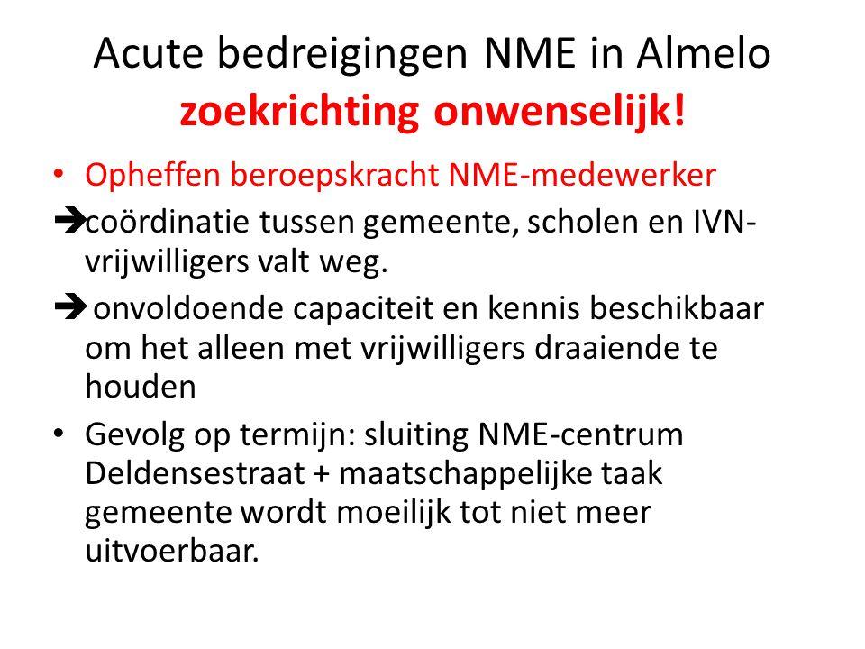 Acute bedreigingen NME in Almelo zoekrichting onwenselijk!