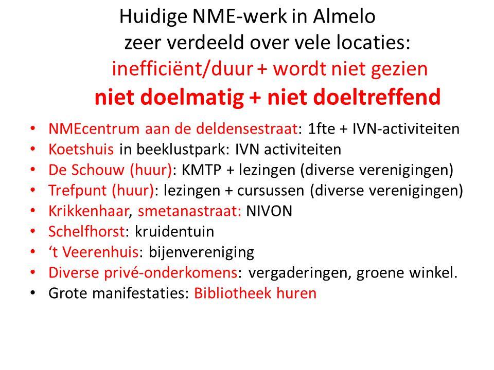 Huidige NME-werk in Almelo zeer verdeeld over vele locaties: inefficiënt/duur + wordt niet gezien niet doelmatig + niet doeltreffend