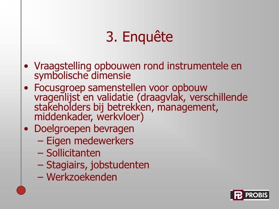 3. Enquête Vraagstelling opbouwen rond instrumentele en symbolische dimensie.