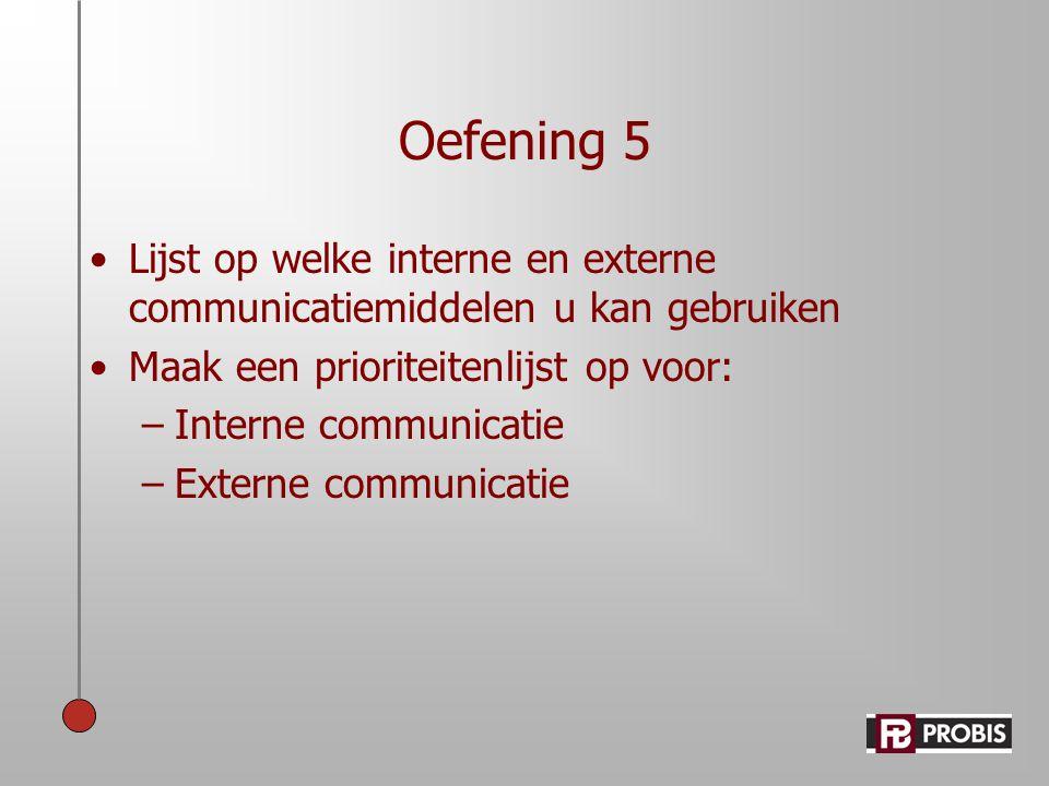 Oefening 5 Lijst op welke interne en externe communicatiemiddelen u kan gebruiken. Maak een prioriteitenlijst op voor: