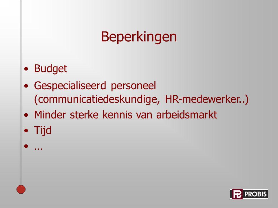 Beperkingen Budget. Gespecialiseerd personeel (communicatiedeskundige, HR-medewerker..) Minder sterke kennis van arbeidsmarkt.