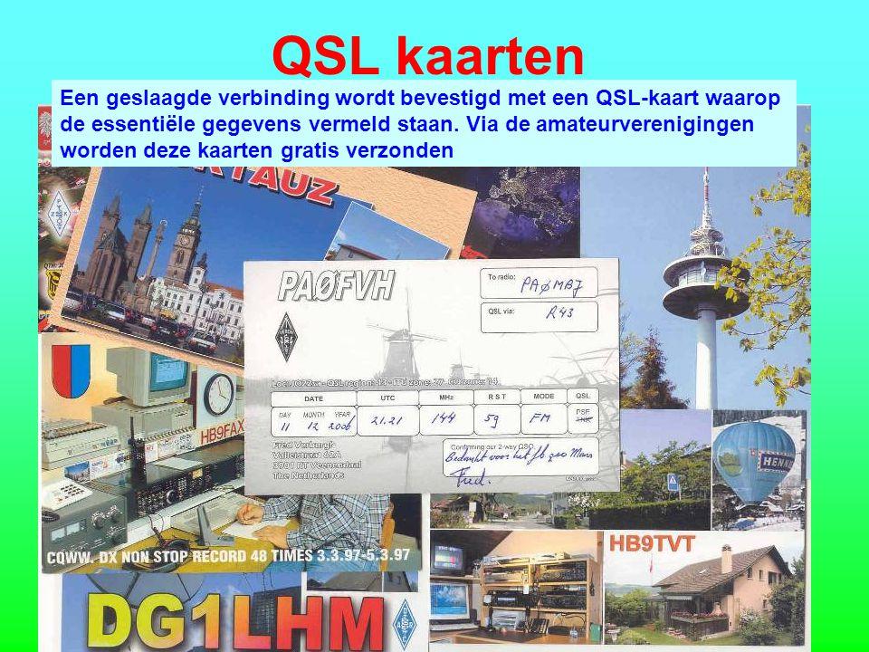 QSL kaarten Een geslaagde verbinding wordt bevestigd met een QSL-kaart waarop. de essentiële gegevens vermeld staan. Via de amateurverenigingen.