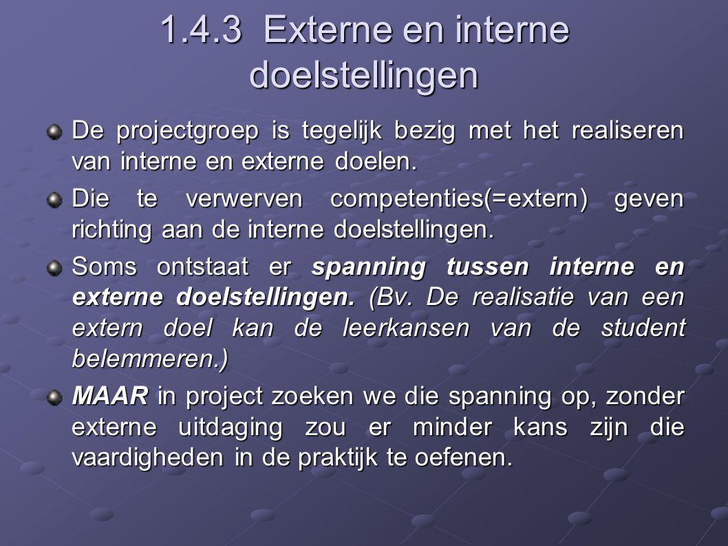 1.4.3 Externe en interne doelstellingen