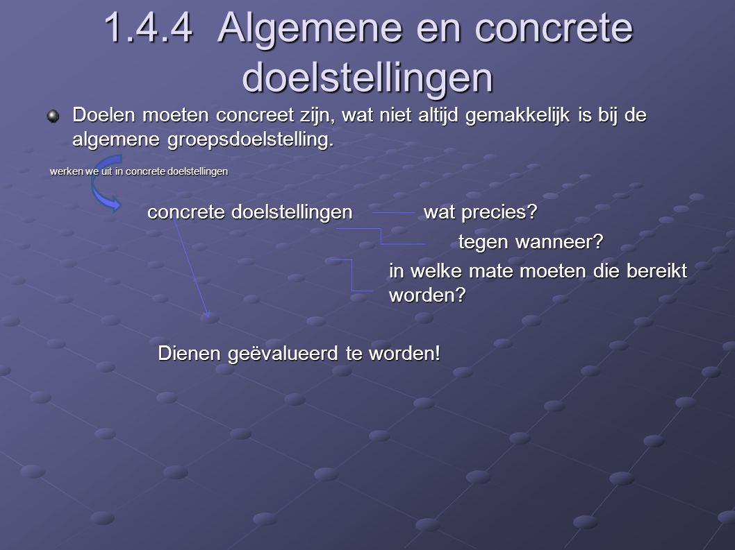 1.4.4 Algemene en concrete doelstellingen