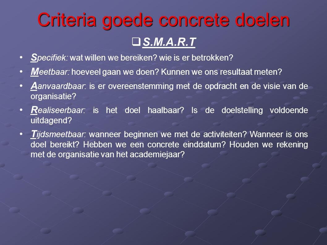 Criteria goede concrete doelen