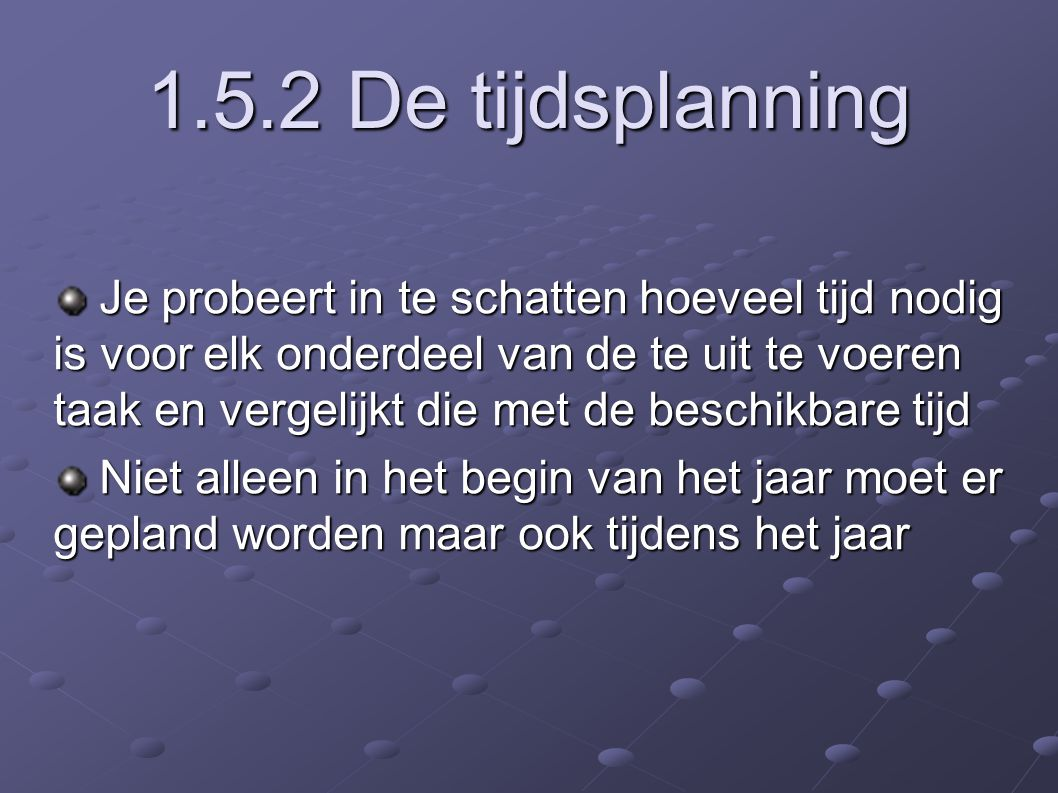 1.5.2 De tijdsplanning