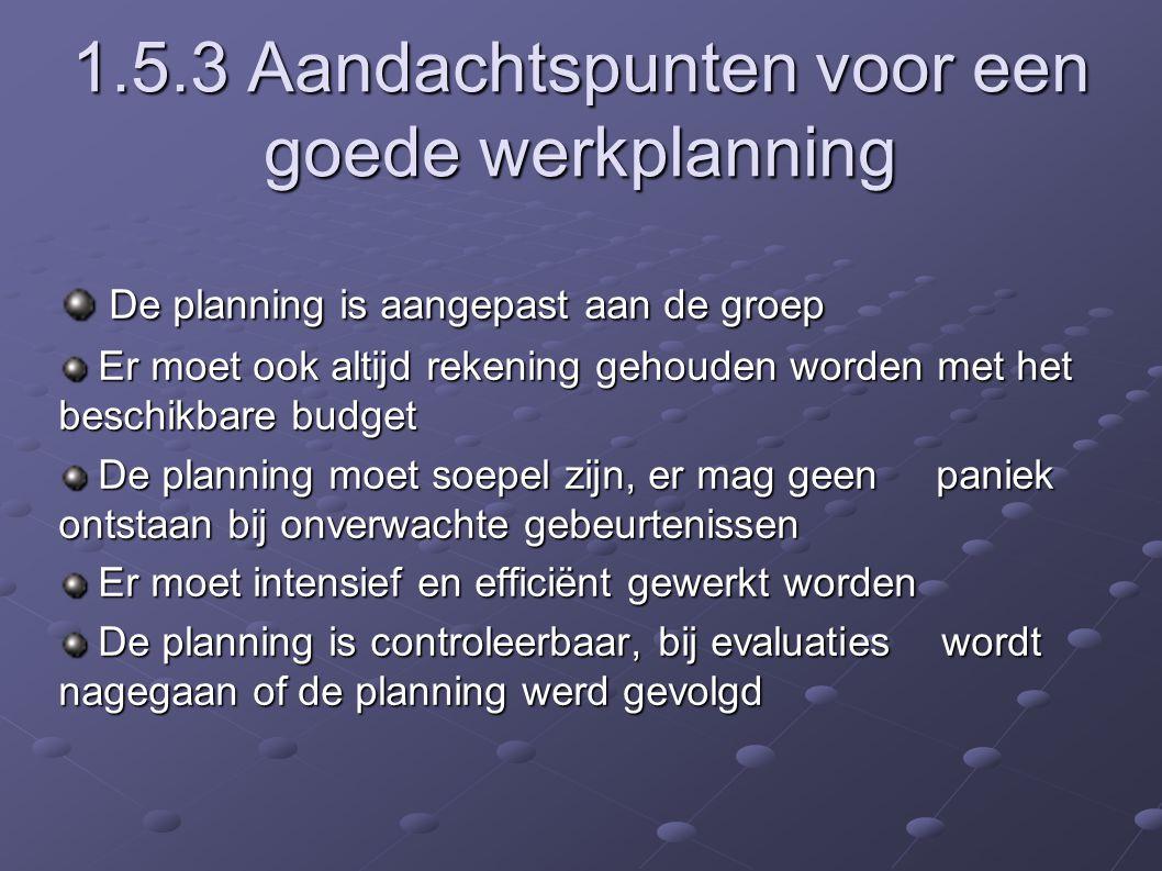 1.5.3 Aandachtspunten voor een goede werkplanning