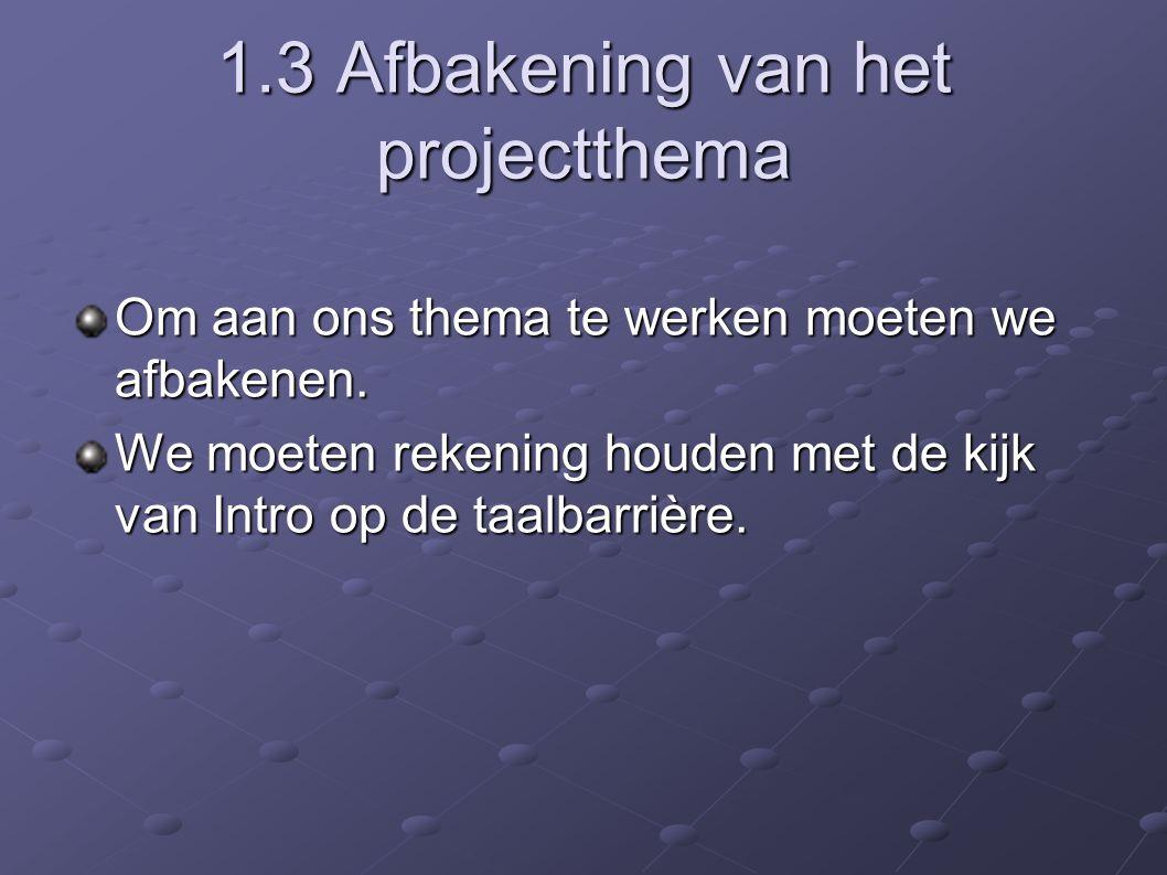 1.3 Afbakening van het projectthema