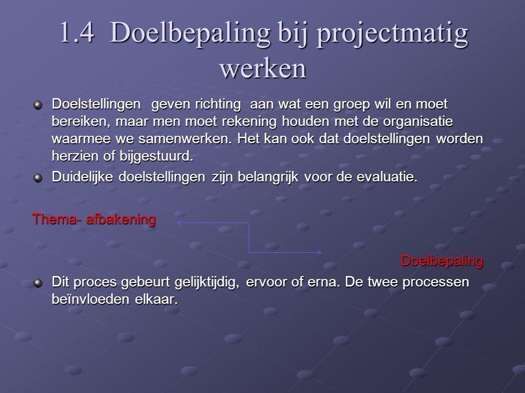 1.4 Doelbepaling bij projectmatig werken