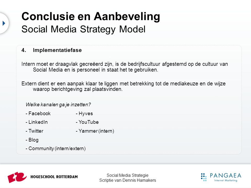 Conclusie en Aanbeveling Social Media Strategy Model
