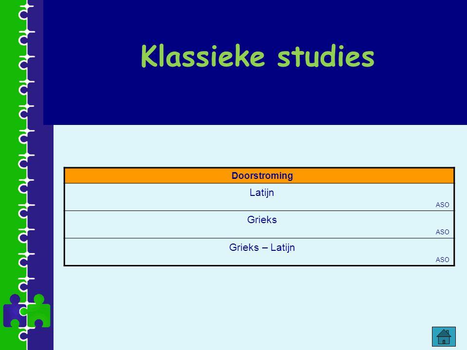 Klassieke studies Doorstroming Latijn ASO Grieks Grieks – Latijn