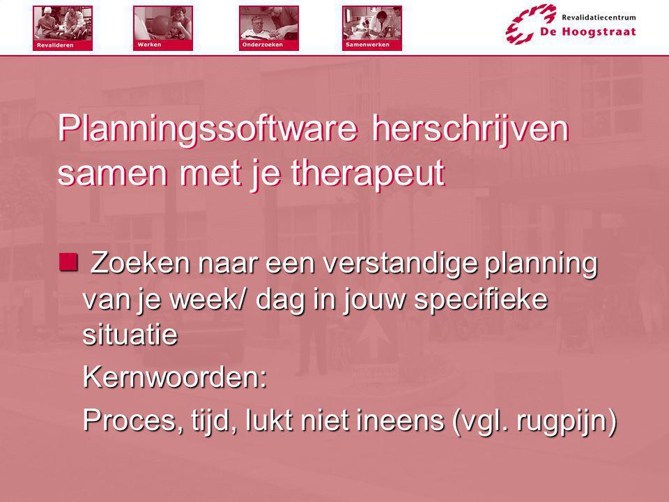 Planningssoftware herschrijven samen met je therapeut