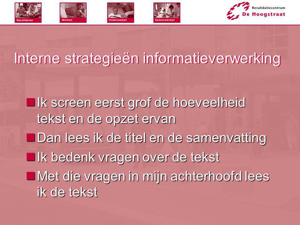 Interne strategieën informatieverwerking