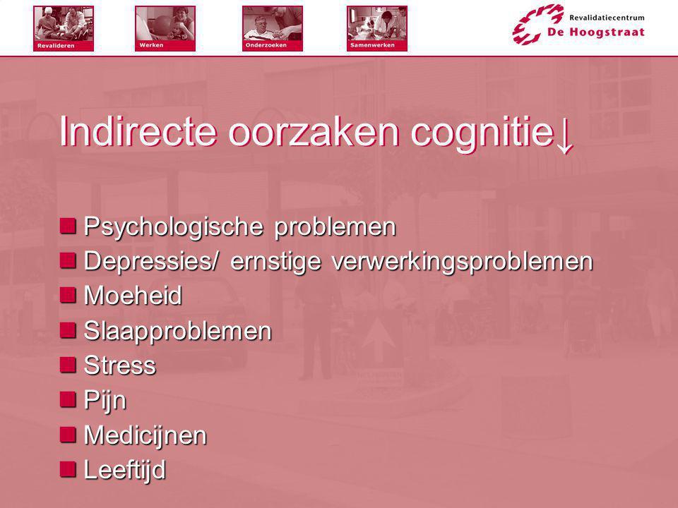 Indirecte oorzaken cognitie↓